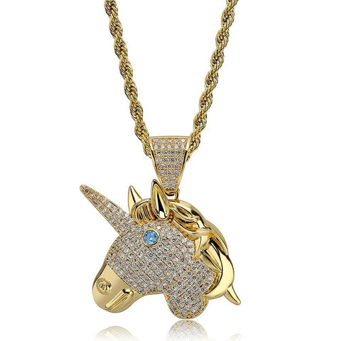 Iced Out Chain 18K Gold Plated Fully Zirconia Simulated Diamond Unicorn Pendant and Necklace