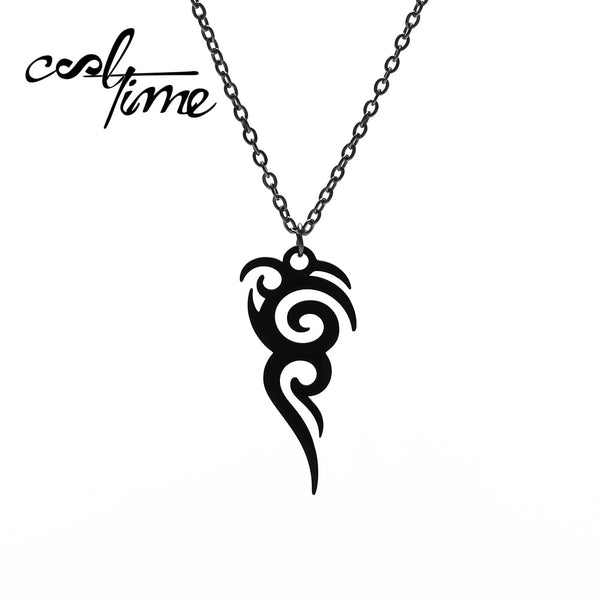 Cooltime Stainless Steel Retro Tribal Totem Easter Black Amulet Necklace
