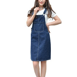 Summer 2020 Women Denim Dress Sundress Casual Loose Overalls Dresses Female Solid Adjustable Strap Jeans Dress Plus Size 4XL