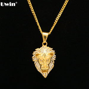 60cm Length Cuban Hip Hop Lion Head Pendant Necklace For Men Luxury Iced Out Cz Simulated Diamonds Stainless Steel Male Jewelry