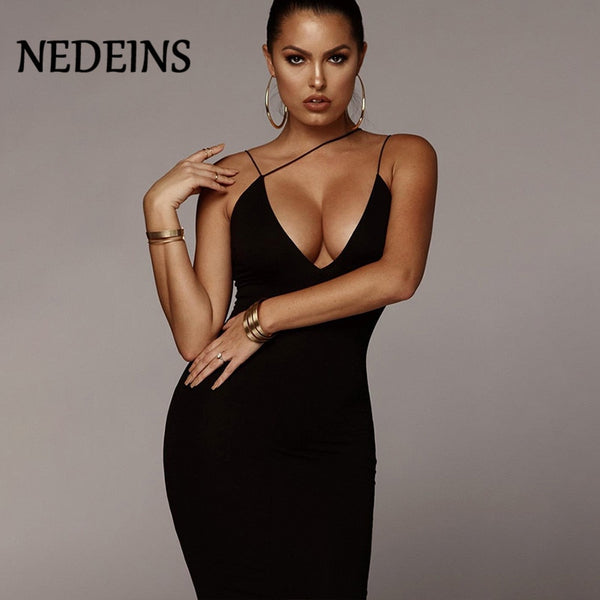 NEDEINS 2019 Sexy Women Summer Dress Party Sleeveless Strap Deep  Sling V-neck Dress  Solid Clubwear Party Long PIus Size Dress