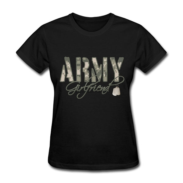 Army Girlfriend Letter Print Tee Shirt Women Tops