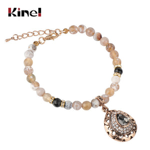 Kinel Charm Natural Stone Vintage Bracelet For Women Mosaic Gray Crystal Antique Gold Bracelets
