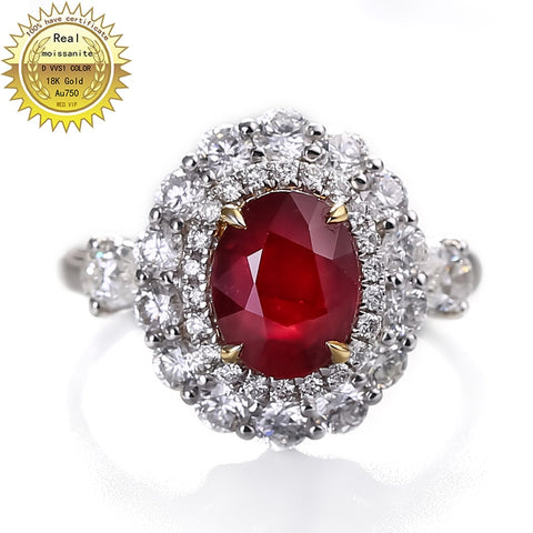 10K Gold ring Lab Created 1.5ct Ruby and Moissanite Diamond Ring with National  Certificate Ru-0014