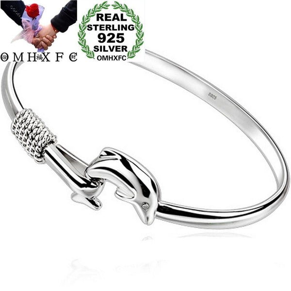 .925 Sterling Silver European Fashion Dolphin Bangle