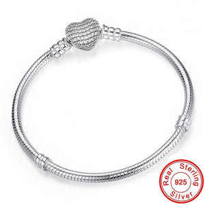 925 Sterling Silver Snake Chain Bracelet Secure Heart Clasp Beads Charms Bracelet