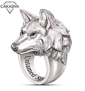 925 Silver Domineering Arctic Wolf Ring Nordic Mythical Viking Warrior Wolf Fenrir Men's Vintage Punk Ring