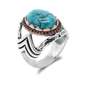 "Real Natural Stone 925 Sterling Silver Blue Stone Hollow-carved Design Turkish W"" Shape Men's Ring"