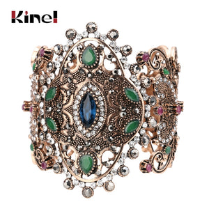 2020 Unique Charm Retro Cuff Bracelet For Women Gold Color Turkish Style Can Adjust Size Big Bracelet Party Jewelry Accessories