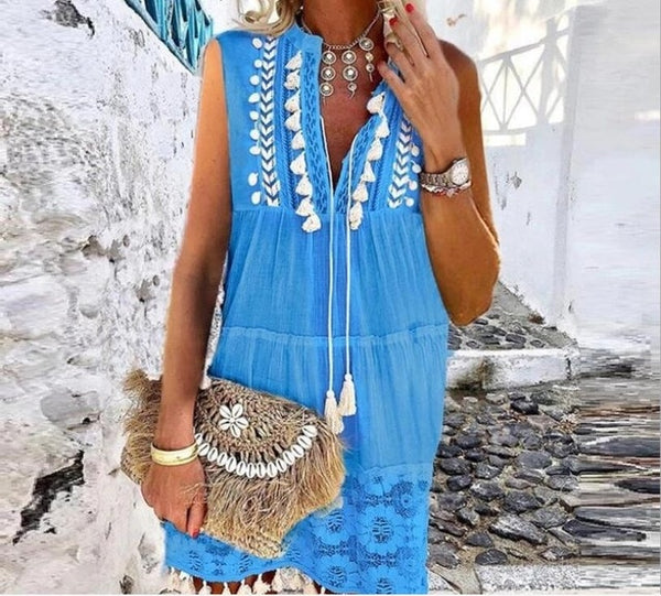 Tassel Sexy Boho Long Dress Women lace Fall Solid Hollow Out V-Neck Lace sexy Dresses bohemian style Plus Size Dress vestidos