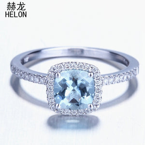 HELON Solid 10k White Gold 6x6mm Cushion Sky Blue Topaz & Diamonds Engagement or Wedding Ring