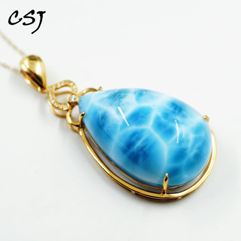 CSJ Natural Larimar Pendant Sterling 10K Gold Larimar Diamond Necklace Fine Jewelry