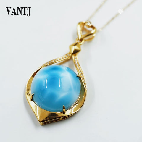 VANTJ Elegant Natural Blue Larimar 10K Yellow Gold Pendant Fine Jewelry Necklace
