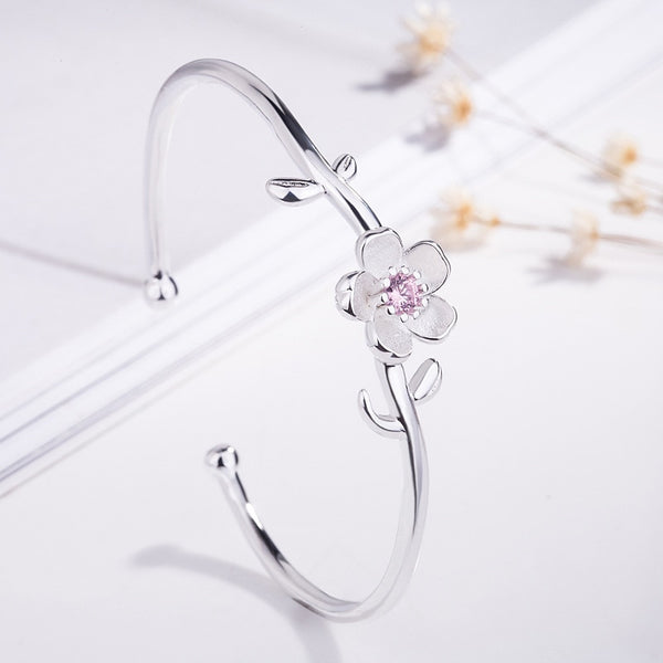Stunning Cherry Blossoms 925 Silver Adjustable Bracelets Pink Purple Crystal Flower Opening Bangle