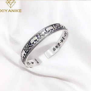 925 Sterling Silver Vintage Creative Elephant Bangles & Bracelet For Women National Style