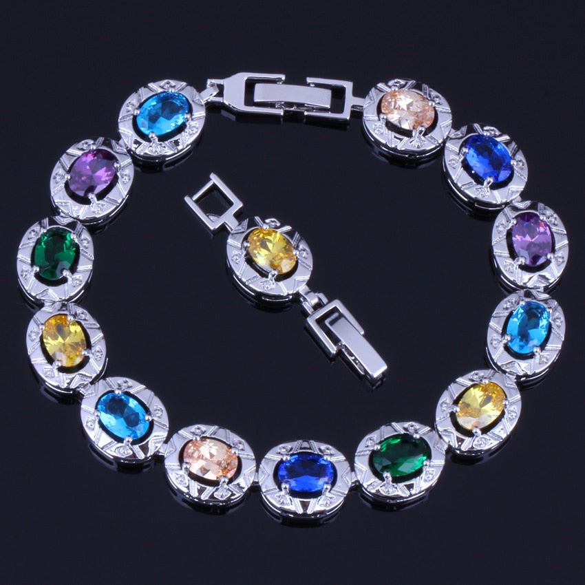 925 Sterling Silver  Fascinating Oval Multigem Multicolor Yellow Cubic Zirconia Link Chain Bracelet 18cm 20cm For Women V0222