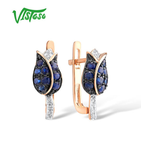 VISTOSO Elegant Pure 14K 585 Rose Gold Shining Diamond Blue Sapphire Earrings