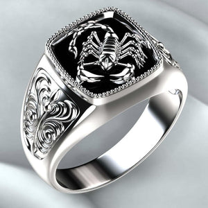 925 Sterling Silver Vintage Embossed Scorpion Punk Style Men's Ring Jewelry