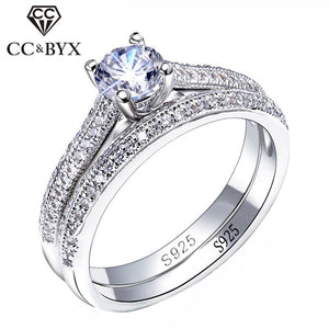 CC 925 Sterling Silver Simple Design Double Stackable Bridal Sets Wedding Ring