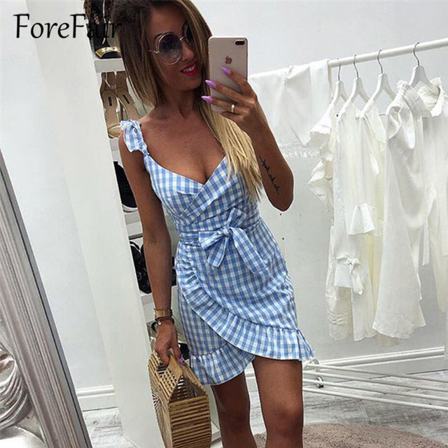 Trendy Red Vintage Plaid Ruffled Sexy Backless Wrap V Neck  Tie Waist Mini Summer Dress