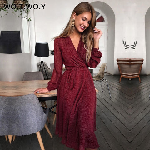 Bohemian Summer Cross V-neck Sashes Mid-Calf Dress Lady Long Sleeve Button Dresses Female