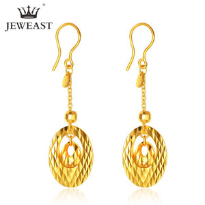 JLZB 24K Pure Gold Real AU 999 Solid Gold Earrings Trendy Fine Jewelry