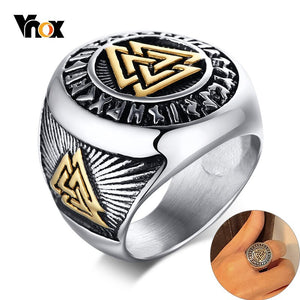 Vnox Vintage Viking Rune Ring for Men Chunky Mythology Amulet Stamp Band Tough Man Heavy Finger Jewelry Triple Knot