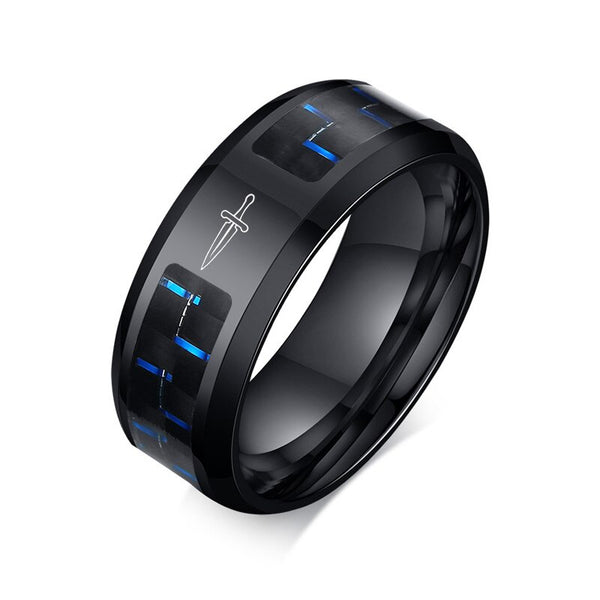 Vnox Punk Men's Ring Laser Dagger Black Stainless Steel Jewelry