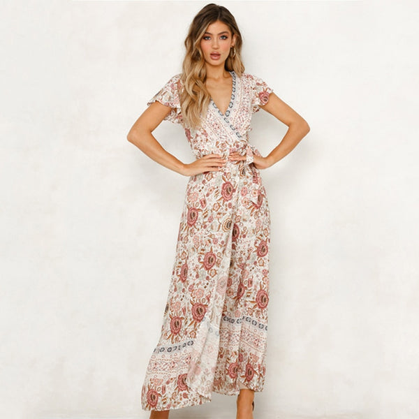 2020 Summer Vintage Maxi Dress Printing Casual Long Dresses Vestidos De Verano for Women High Waist Deep V Neck Short Sleeve