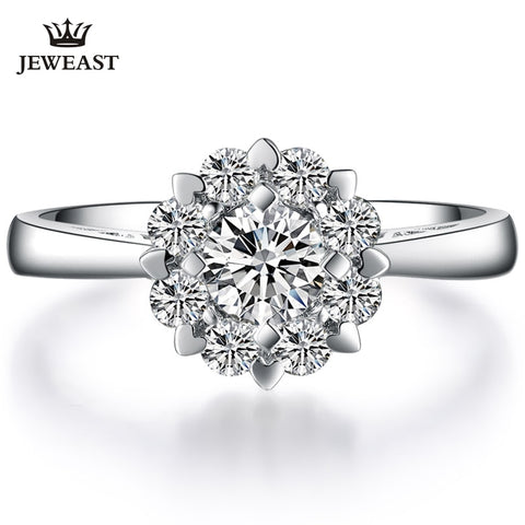 Natural Diamond 18K Star Burst Ring Fine Jewelry