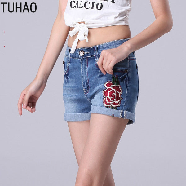TUHAO Embroidery Short Mujer Plus Size 7XL 6XL 5XL Female High Waist Denim Shorts  Womens Loose Irregular Jeans Shorts 2020 WM58