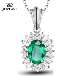 SLFD Natural Emerald 18K Pure Gold Pendant Real AU 750 Classic Fine Jewelry