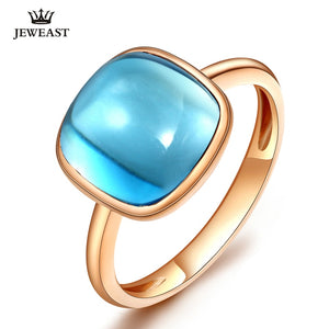 LSZB Natural Topaz 18K Pure Gold Ring  Fine Jewelry