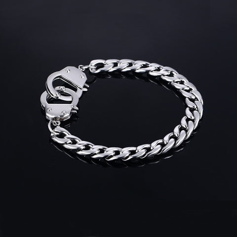 Men's Hand Cuff Bracelet Stainless Steel