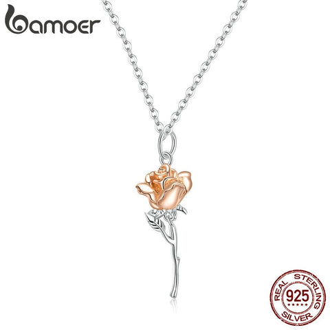 Sterling Silver 925 Graceful Rose Pendant Necklace for Women Chain Necklaces Plated platinum Jewelry BSN190