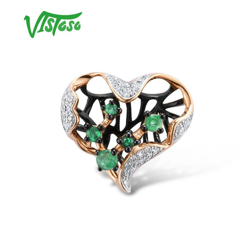 14K 585 Rose Gold Hollow Heart Natural Emerald Sparkling Diamond Pendant Fine Jewelry
