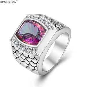 925 Sterling Silver Huge Mystic  Pink CZ Stone Cocktail Ring