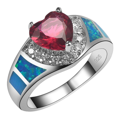 925 Sterling Silver Garnet With Blue Fire Opal Ring