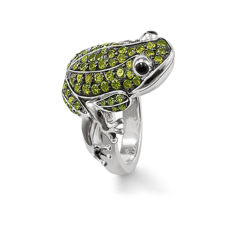 925 Sterling Silver Green Zirconia Frog Cocktail Ring European Fashion Glam Ring