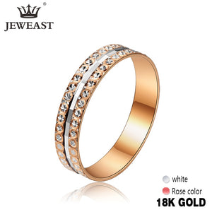 JYM 18K Solid Gold Wedding Band Ring Fine Jewelry