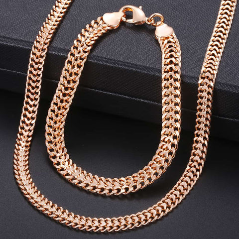 Men Women's Jewelry Set 585 Rose Gold Overlay Bracelet Necklace Set Double Curb Cuban Weaving Bismark Chain