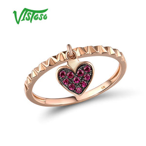 9K 375 Rose Gold Lab Created Ruby Heart Shape Ring Fine Jewelry