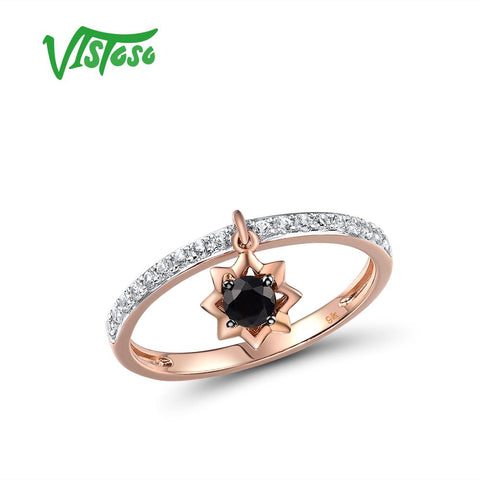 9K 375 Rose Gold Black Sapphire & White Sapphire Ring Fine Jewelry