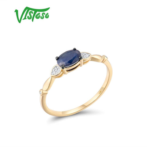14K 585 Yellow Gold Natural Blue Sapphire Sparkling Diamond Ring Fine Jewelry