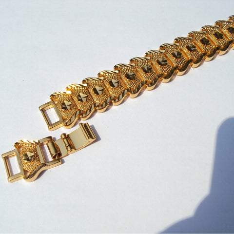 18 k 22 K 24 K Thai Baht Fine Gold GF Nugget Bracelet 15 Mm Wide - 200 mm +20mm lengthen LIFETIME WARRANTY