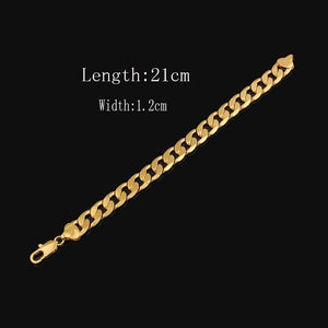 18 k 22 K 24 K Thai Baht Fine Gold Filled 12 Mm Cuban (Curb) Link Chain BRACELET LIFETIME WARRANTY