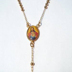 Loyal Cool 22 K 24 K Thai Baht Fine Gold Filled Cross/Crucifix Pendant & Rosario Rosary Beads Necklace Chain 60CM + 10 CM long