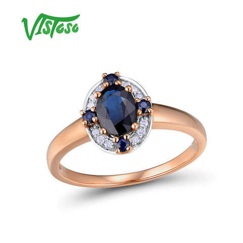 14K 585 Rose Gold Ring Sparkling Diamond Blue Sapphire Round Rings Fine Jewelry