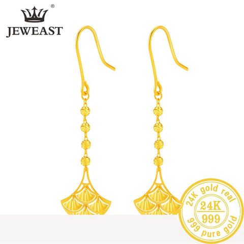 24K Pure Gold Real AU 999 Solid Gold Earrings Nice Good Hollow Ball Tassel Fine Jewelry