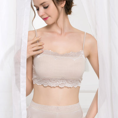 Women Tube Top 100% Natural Silk and Lace Bandeau Adjustable Shoulder tape New Healthy Underwear Beige Black White - Rocky Mt. Outlet Inc - Shop & Save 24/7